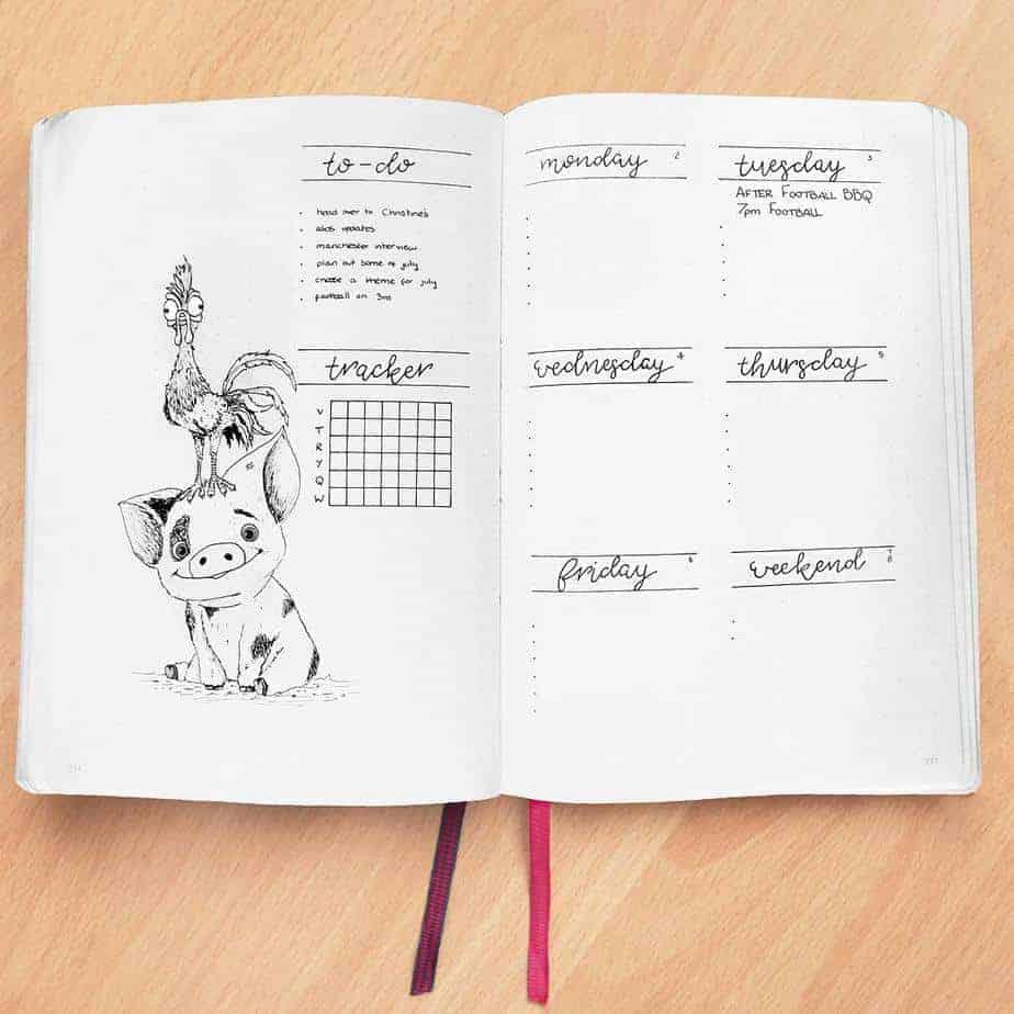 Disney Bullet Journal inspirations - weekly spread by @rachelmayplans | Masha Plans