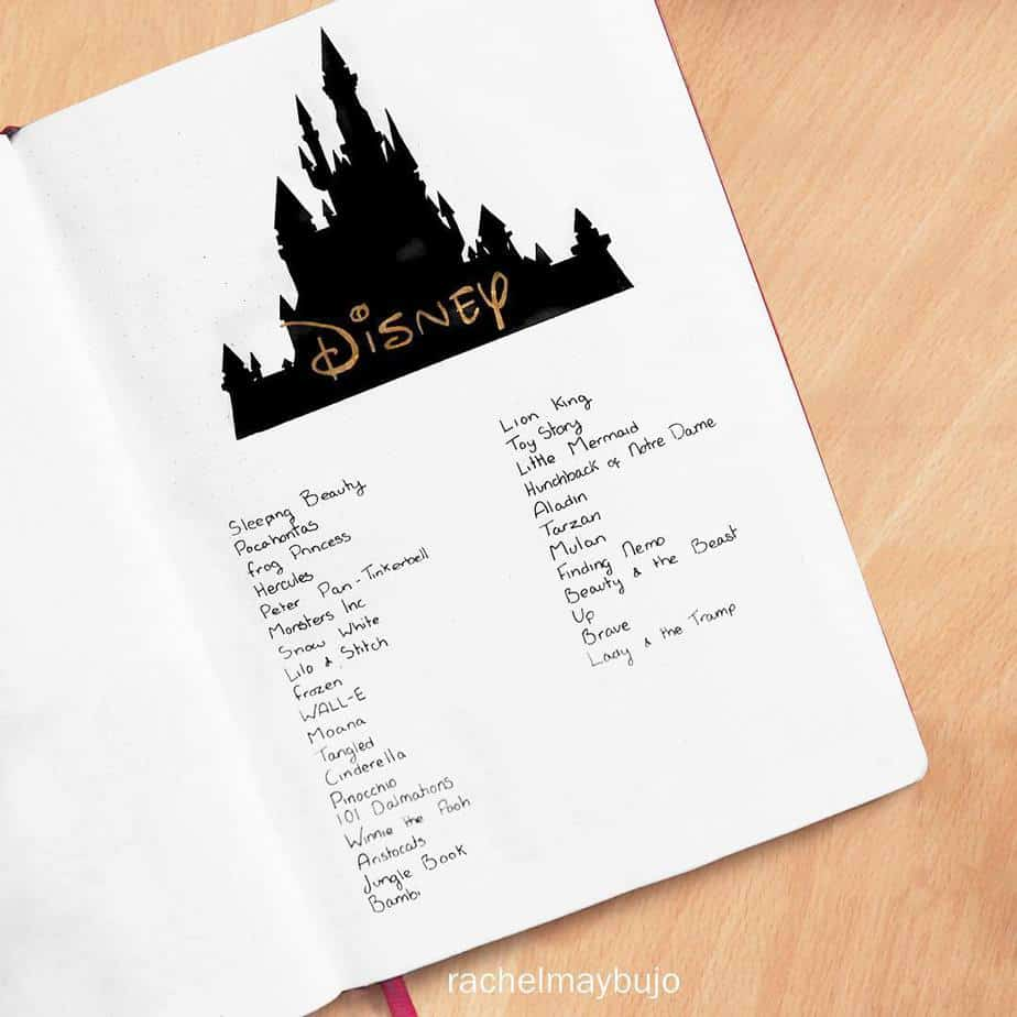 Disney Bullet Journal inspirations - spread by @rahcelmayplans | Masha Plans