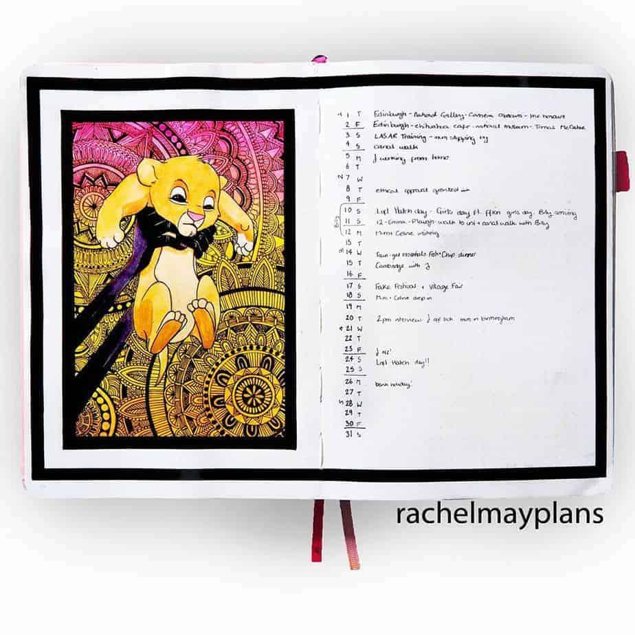 Disney Bullet Journal inspirations - monthly log by @rachelmayplans | Masha Plans