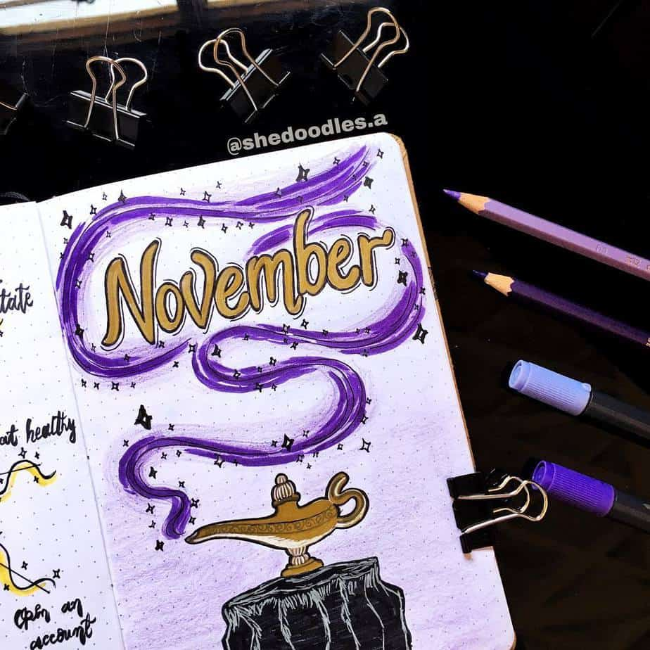 Disney Bullet Journal inspirations - cover page by @shedoodles.a | Masha Plans