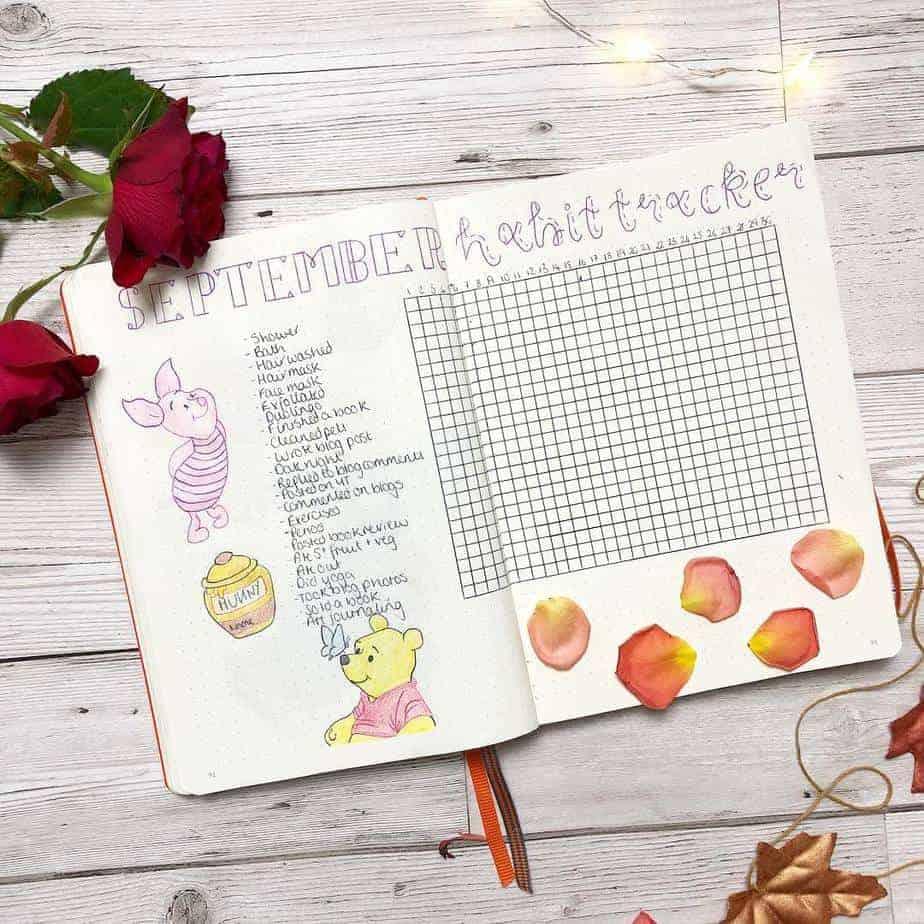 Disney Bullet Journal inspiration - habit tracker by @steph_nourishmeblog | Masha Plans