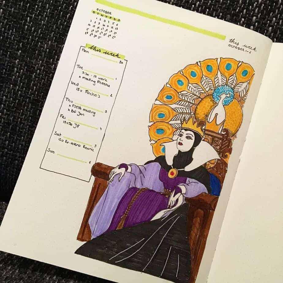 Disney Bullet Journal inspirations - weekly spread by @suilestrange | Masha Plans