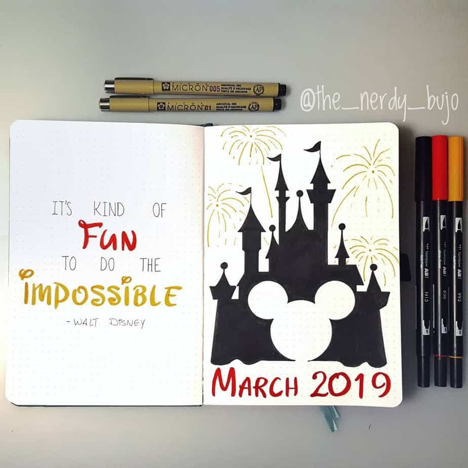 Disney Bullet Journal inspirations - cover page by @the_nerdy_bujo | Masha Plans