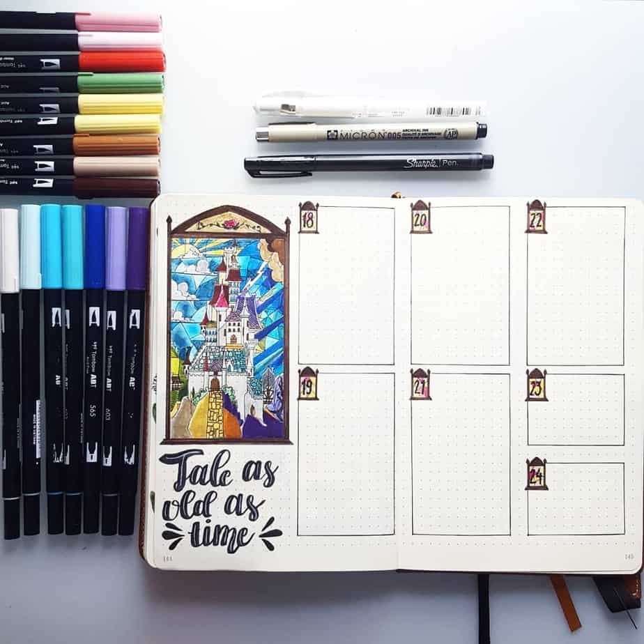 Disney Bullet Journal inspirations - weekly spread by @the_nerdy_bujo | Masha Plans
