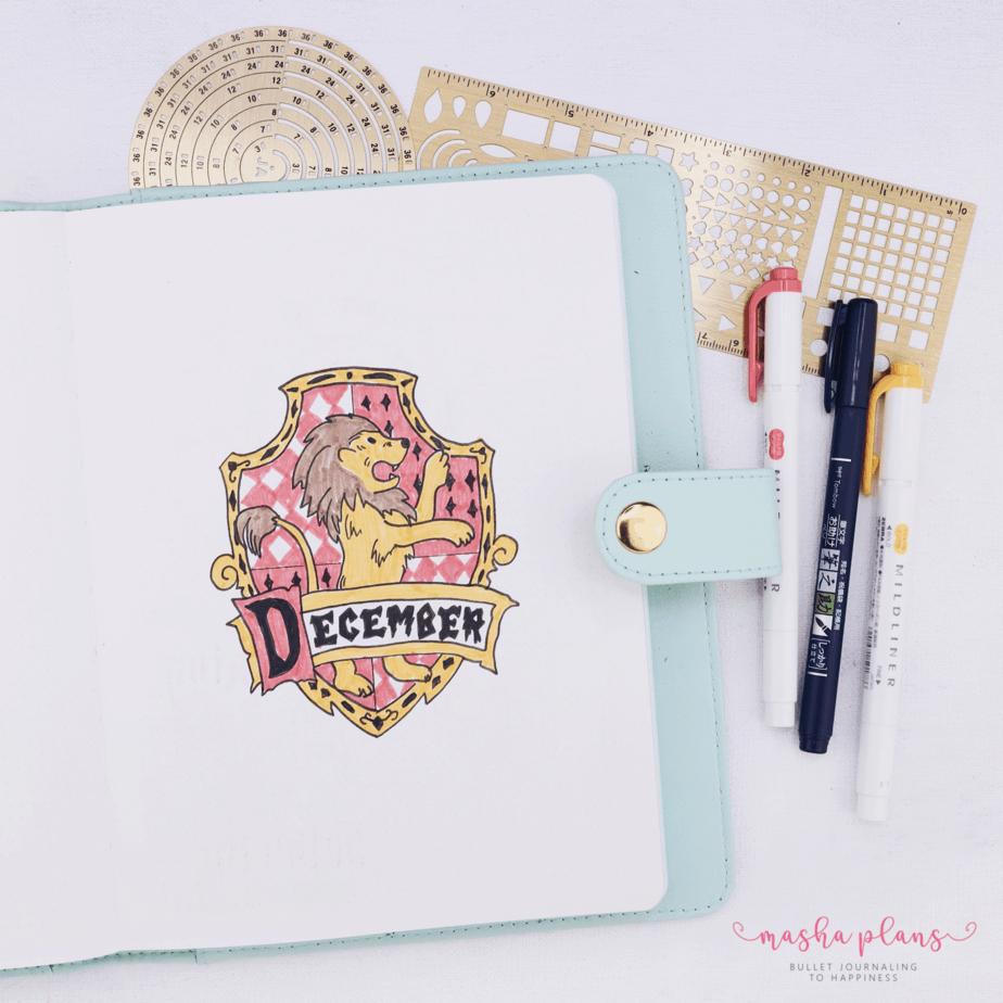Harry Potter Bullet Journal Setup - cover page   Masha Plans