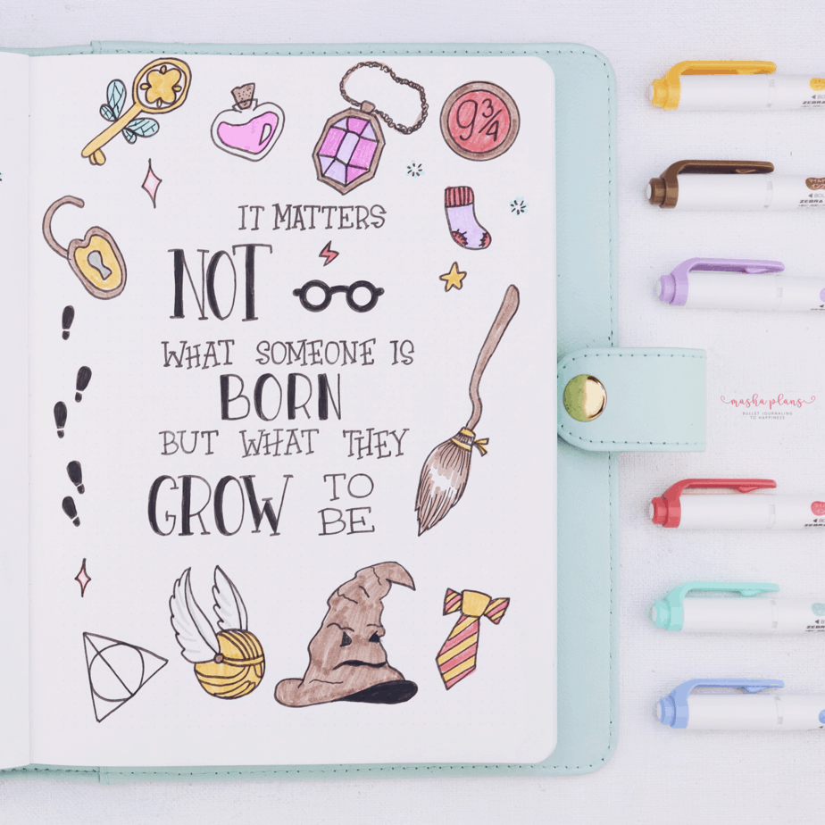 Harry Potter Bullet Journal Setup - quote page | Masha Plans