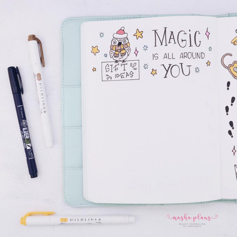 Harry Potter Bullet Journal Setup - gift ideas | Masha Plans
