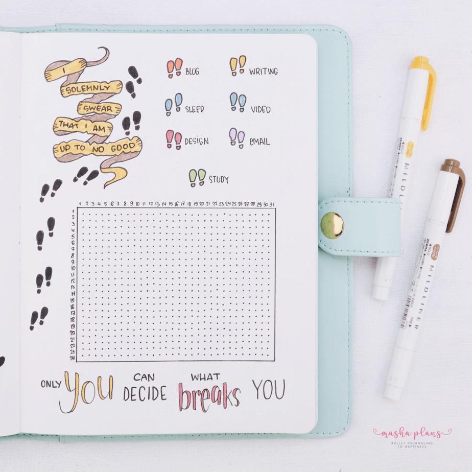 Harry Potter Bullet Journal Setup - time log | Masha Plans