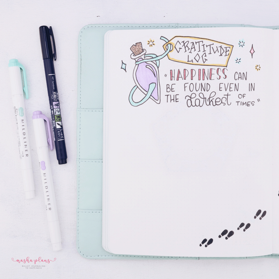Harry Potter Bullet Journal Setup - gratitude log | Masha Plans