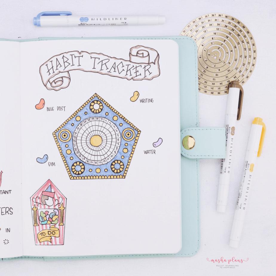 Harry Potter Bullet Journal Setup - habit tracker   Masha Plans