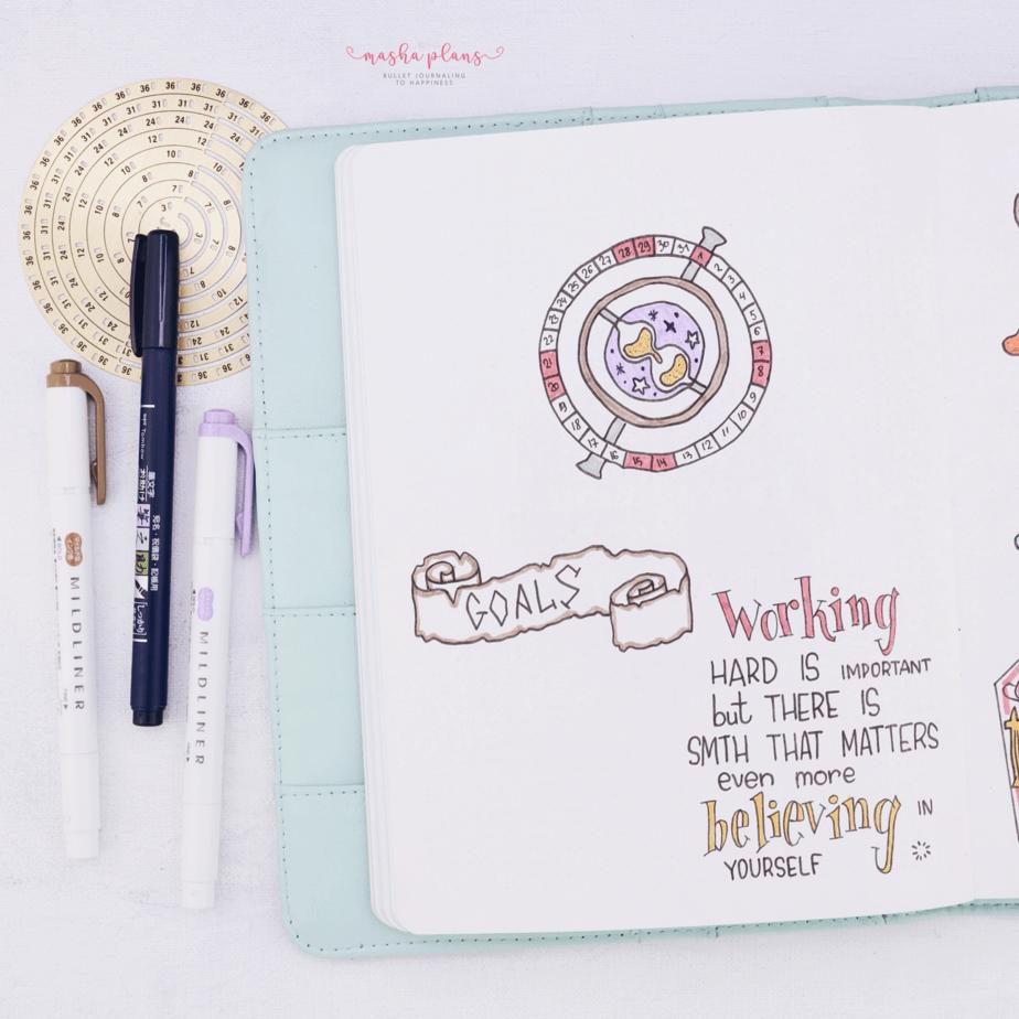 Harry Potter Bullet Journal Setup - monthly log   Masha Plans