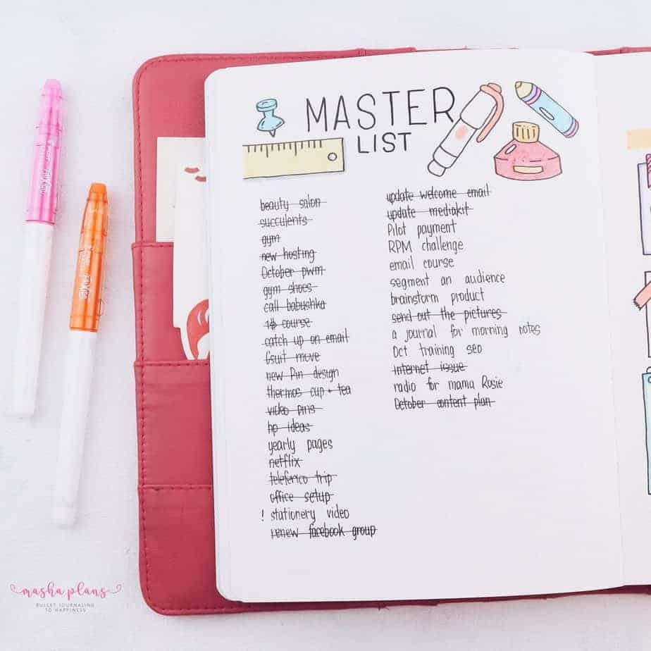 Bullet Journal Master List | Masha Plans