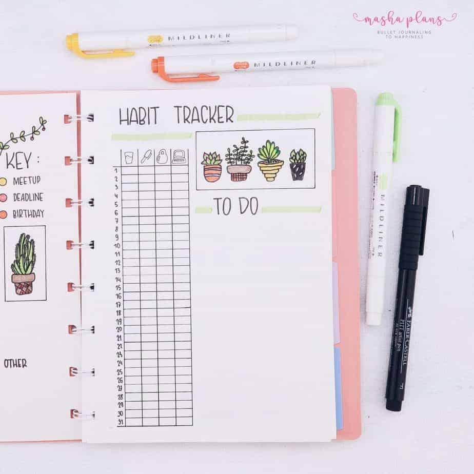 Minimalist Bullet Journal Setup, habit tracker | Masha Plans