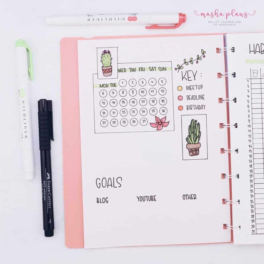 Minimalist Bullet Journal Setup, monthly log | Masha Plans