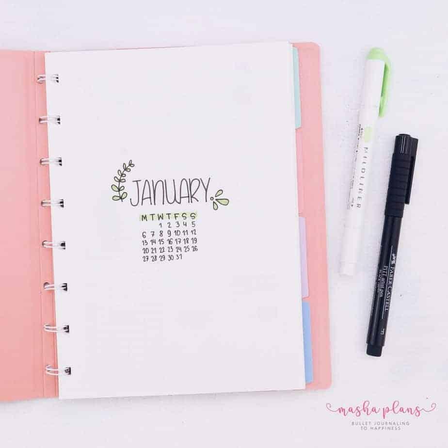 Minimalist Bullet Journal Setup, cover page | Masha Plans