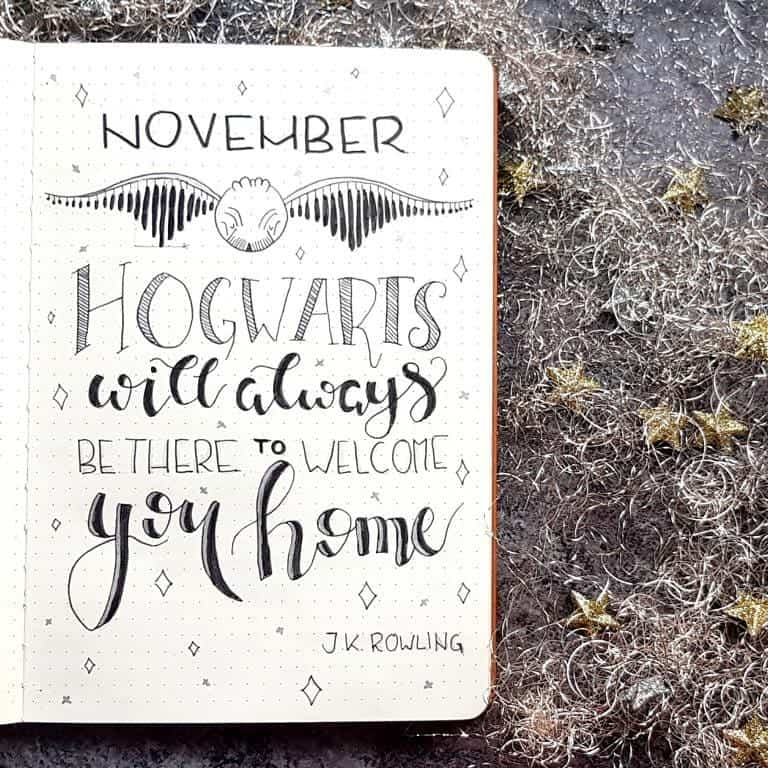 Harry Potter Bullet Journal Theme Inspirations - covr page by @alionsword | Masha Plans