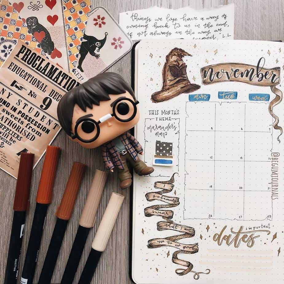 Harry Potter Bullet Journal Theme Inspirations - monthly log by @begumjournals | Masha Plans