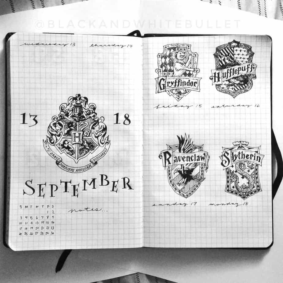 Harry Potter Bullet Journal Theme Inspirations - weekly spread by @blackandwhitebullet | Masha Plans