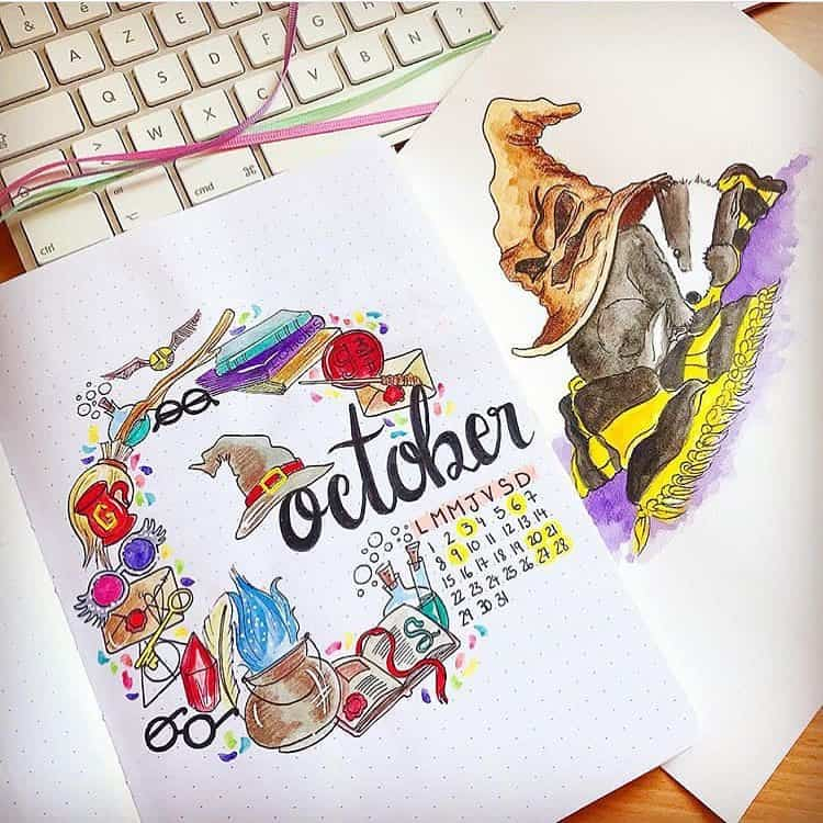 Harry Potter Bullet Journal Theme Inspirations - cover page by @bujo_artichaut