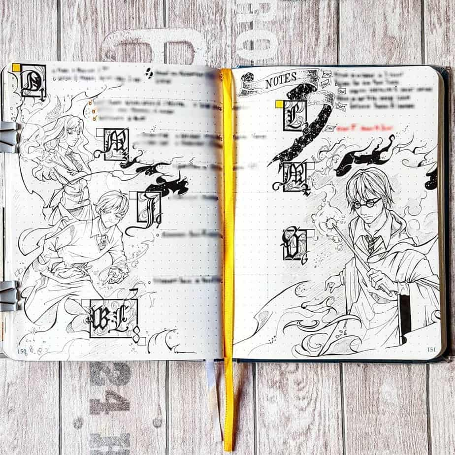 Harry Potter Bullet Journal Theme Inspirations - weekly spread by @bujo_of_ryo | Masha Plans