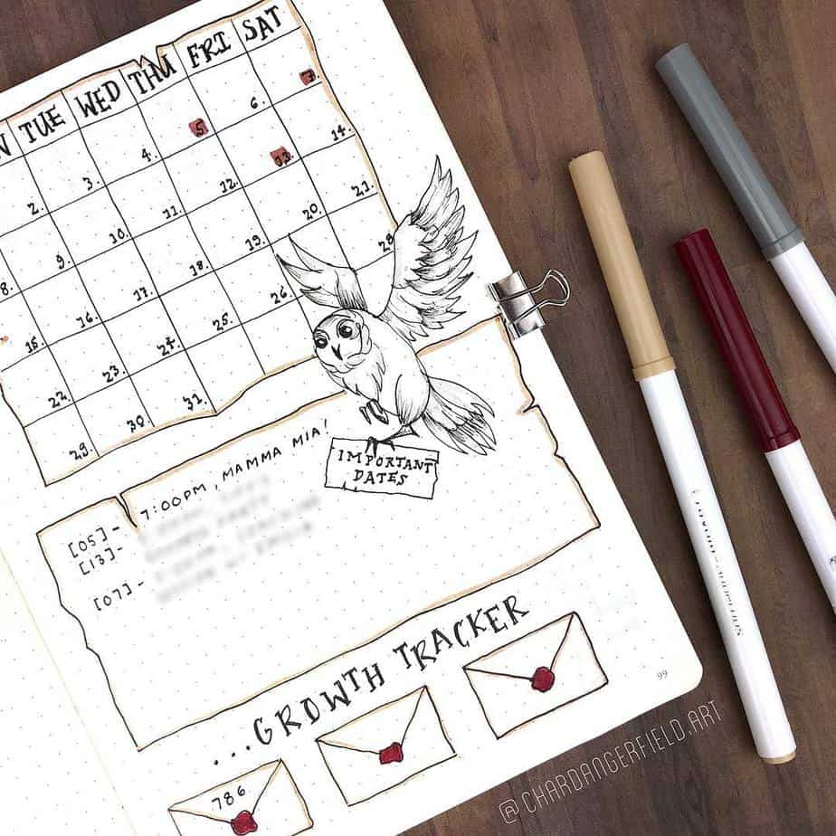 Harry Potter Bullet Journal Theme Inspirations - monthly log by @chardangerfield.art | Masha Plans