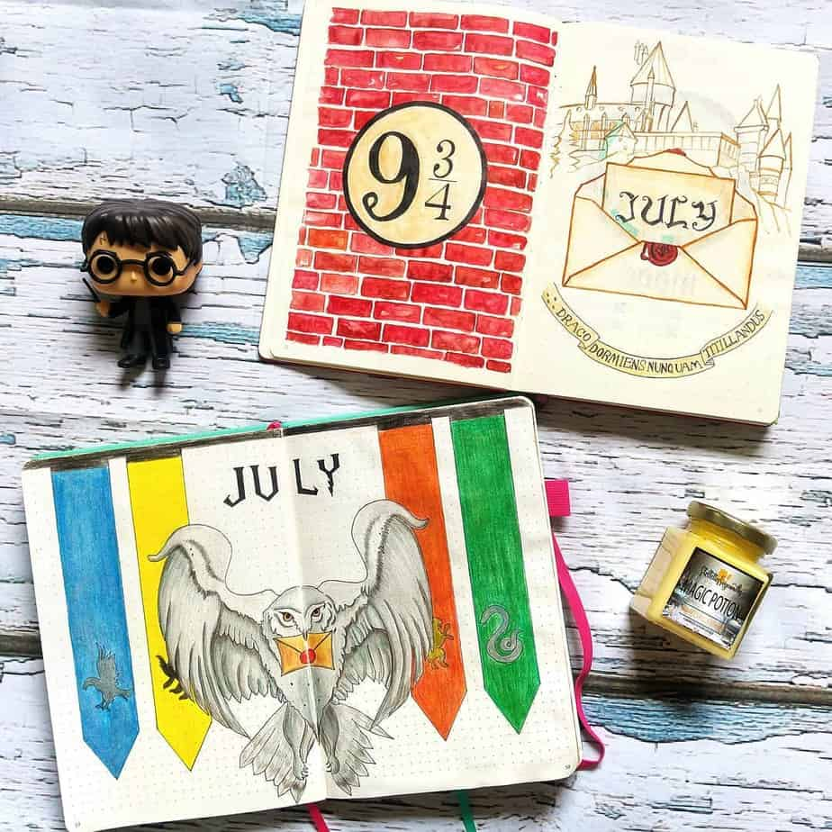 Harry Potter Bullet Journal Theme Inspirations - cover page by @debjanicreates | Masha Plans