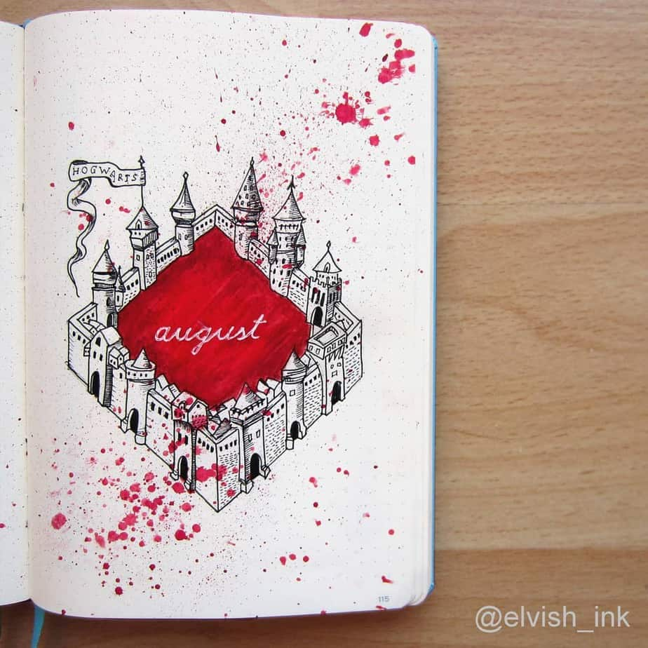 Harry Potter Bullet Journal Theme Inspirations - cover page by @elvish_ink | Masha Plans