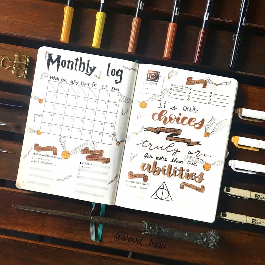 Harry Potter Bullet Journal Theme Inspirations - monthly log by @grace.journals | Masha Plans