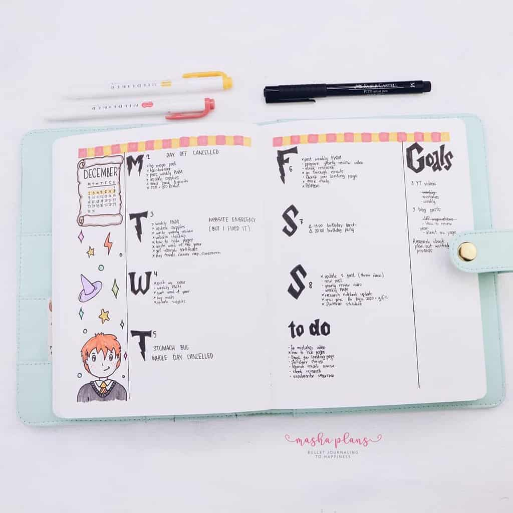 Harry Potter Bullet Journal Theme Inspirations - weekly spread   Masha Plans