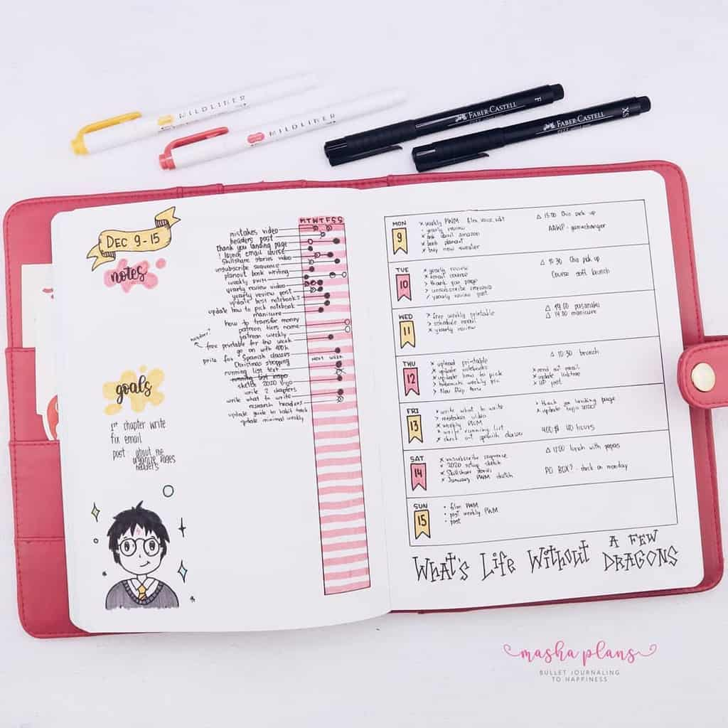 Harry Potter Bullet Journal Theme Inspirations - weekly spread | Masha Plans