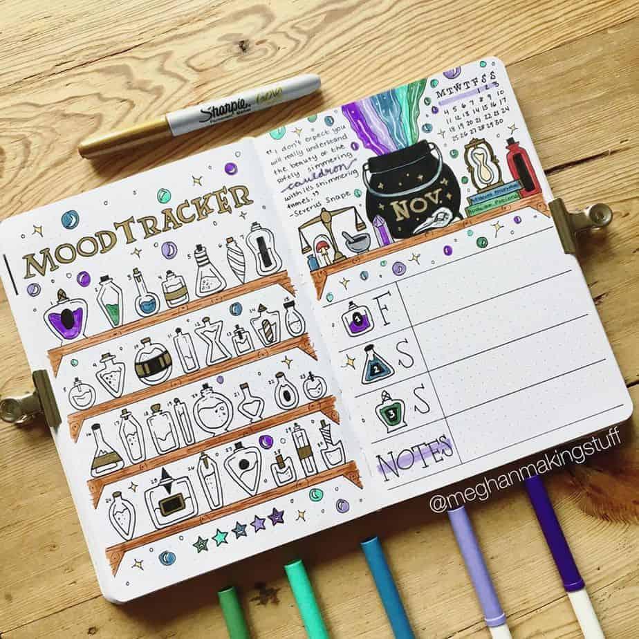 Harry Potter Bullet Journal Theme Inspirations - tracker by @meghanmakingstuff   Masha Plans