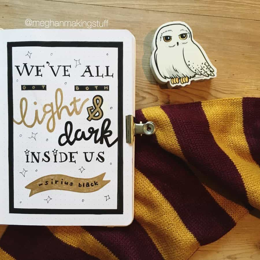 Harry Potter Bullet Journal Theme Inspirations - quote spread by @meghanmakingstuff | Masha Plans