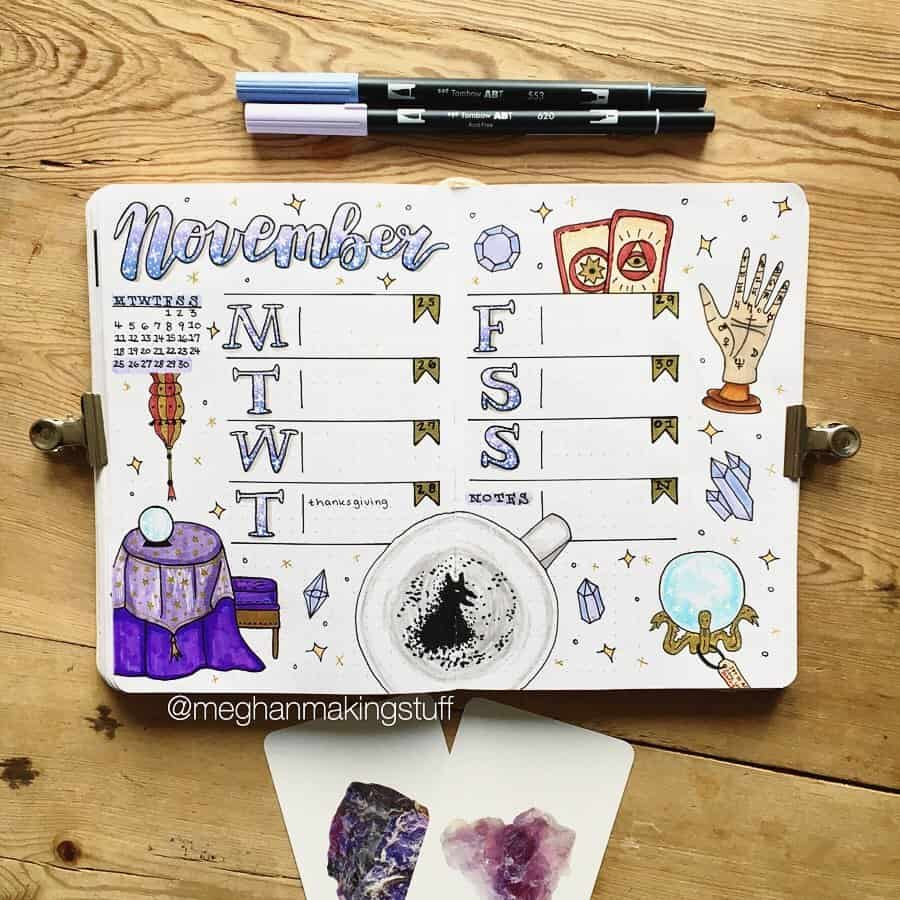 Harry Potter Bullet Journal Theme Inspirations - weekly spread by @meghanmakingstuff | Masha Plans