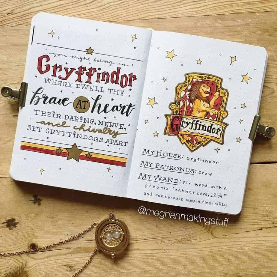 Harry Potter Bullet Journal Theme Inspirations - spread by @meghanmakingstuff | Masha Plans