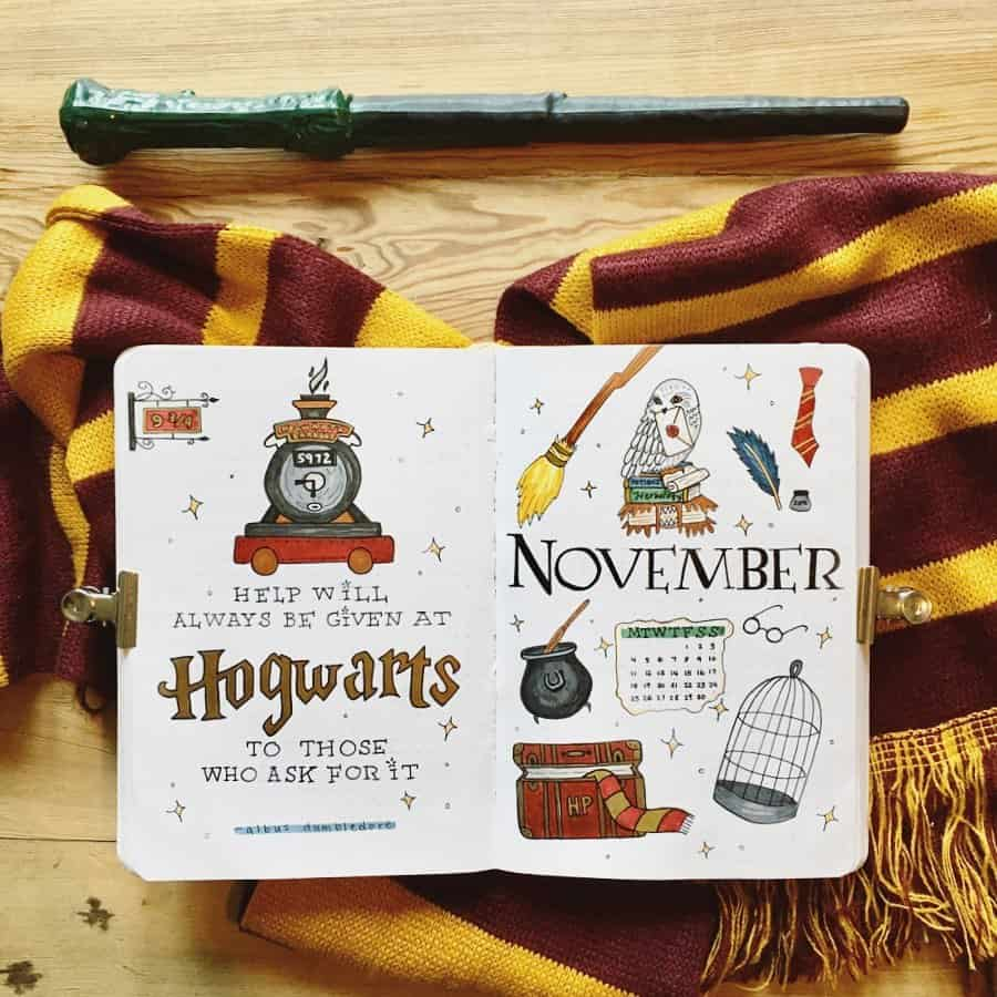 Harry Potter Bullet Journal Theme Inspirations - cover page by @meghanmakingstuff | Masha Plans