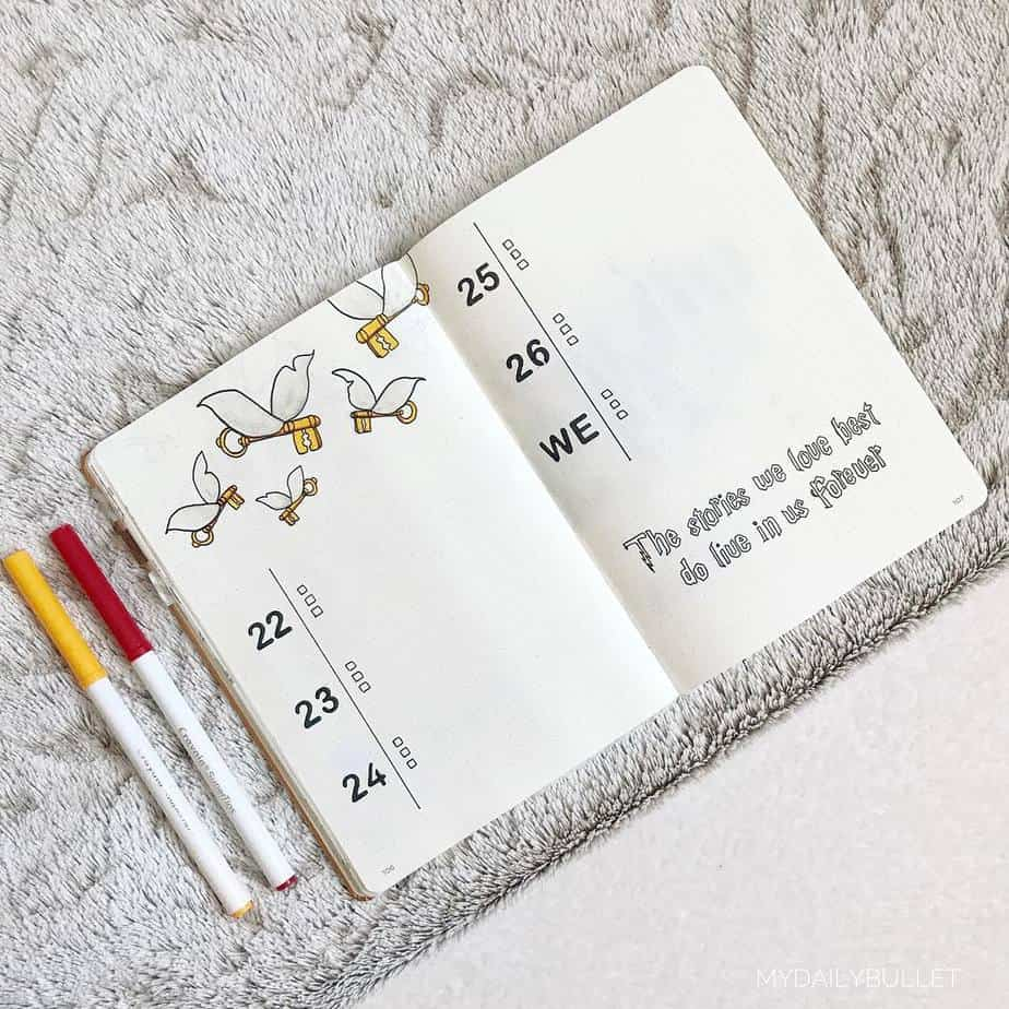 Harry Potter Bullet Journal Theme Inspirations - weekly spread by @mydailybullet | Masha Plans