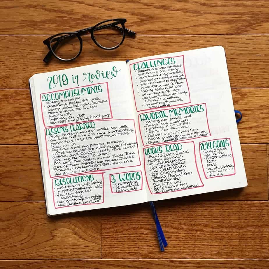 How To Set Up Your Personal Year End Review - spread by @mysocalledbujo | Masha Plans