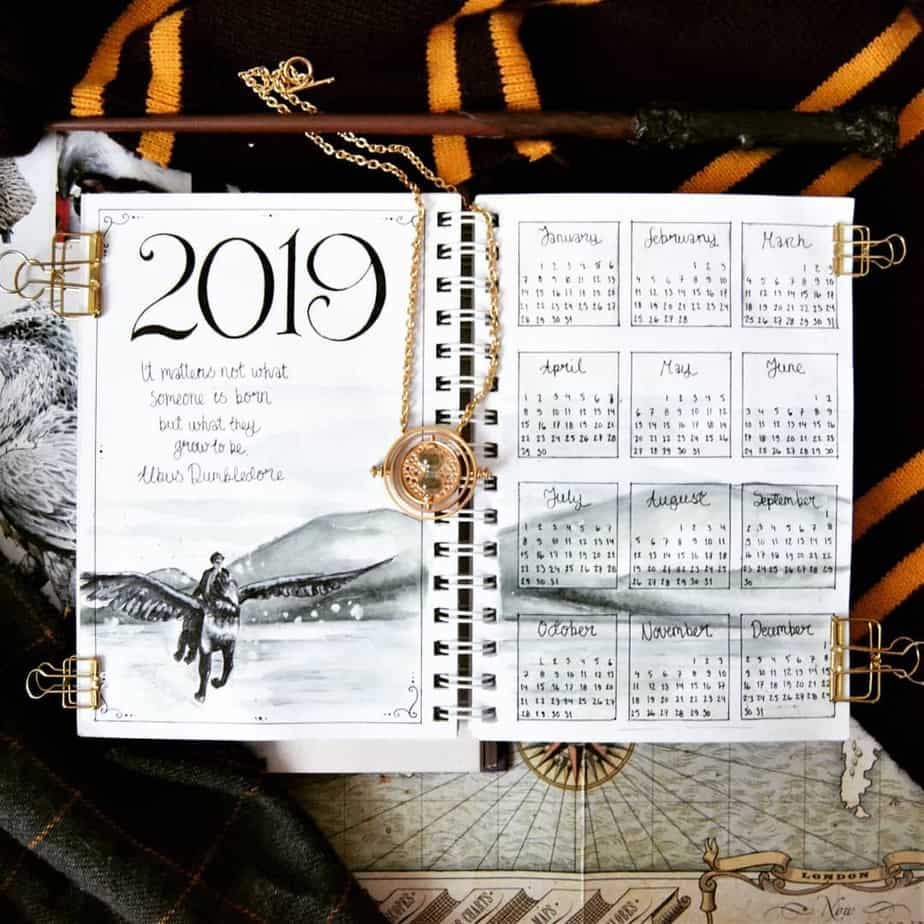 Harry Potter Bullet Journal Theme Inspirations - spread by @potterbujo | Masha Plans