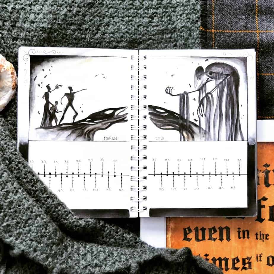 Harry Potter Bullet Journal Theme Inspirations - monthly log by @potterbujo | Masha Plans