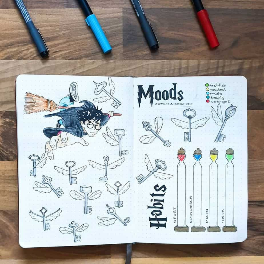 Harry Potter Bullet Journal Theme Inspirations - tracker by @punkyjournal | Masha Plans