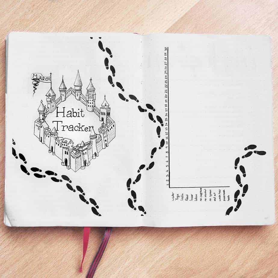 Harry Potter Bullet Journal Theme Inspirations - tracker by @rachelmayplans | Masha Plans