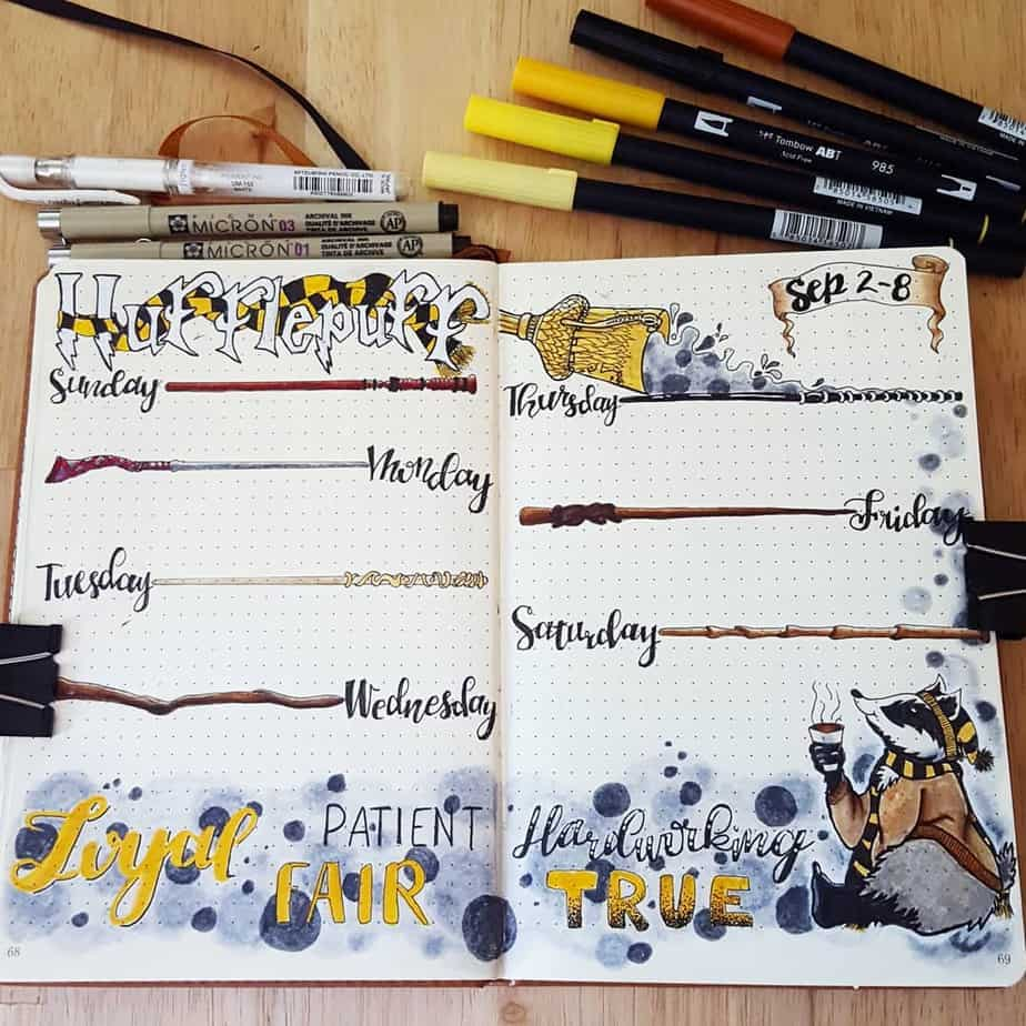 Harry Potter Bullet Journal Theme Inspirations - weekly spread by @the_nerdy_bujo | Masha Plans