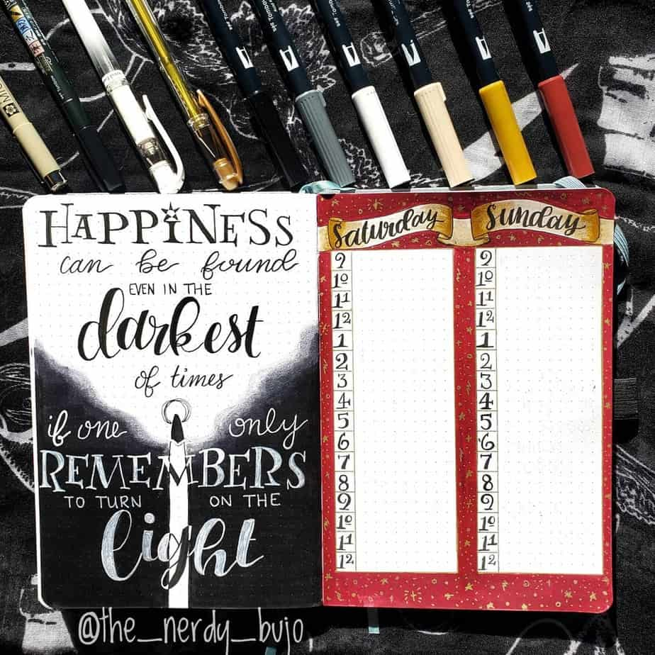 Harry Potter Bullet Journal Theme Inspiration - weekly spread by @the_nerdy_bujo | Masha Plans