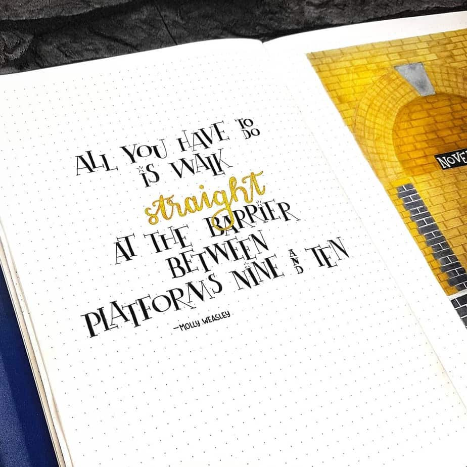 Harry Potter Bullet Journal Theme Inspirations - spread by @thebluebujo | Masha Plans