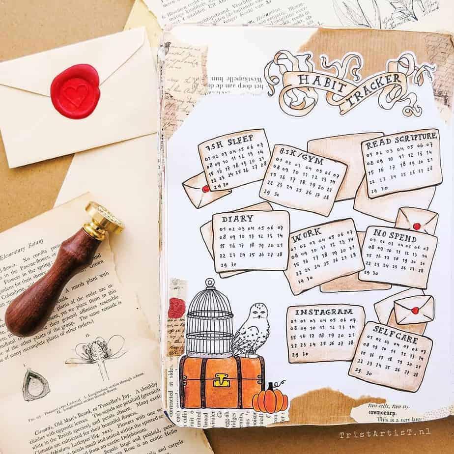 Harry Potter Bullet Journal Theme Inspirations - habit tracker by @tristartist.nl | Masha Plans