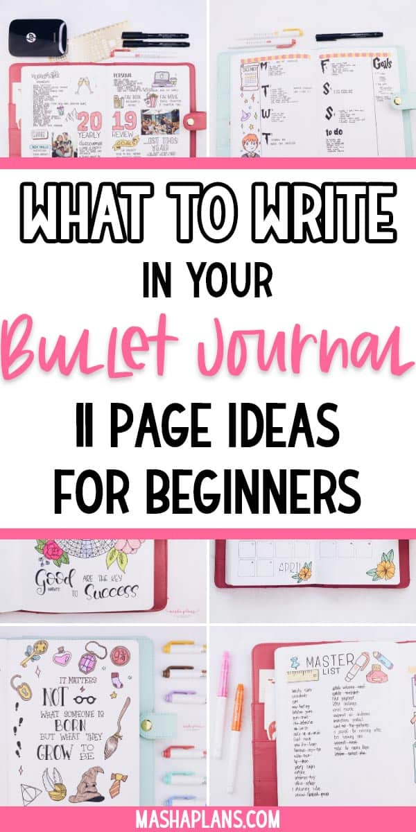 What to Write In Your Bullet Journal: 11 Page Ideas For Beginners | Masha Plans