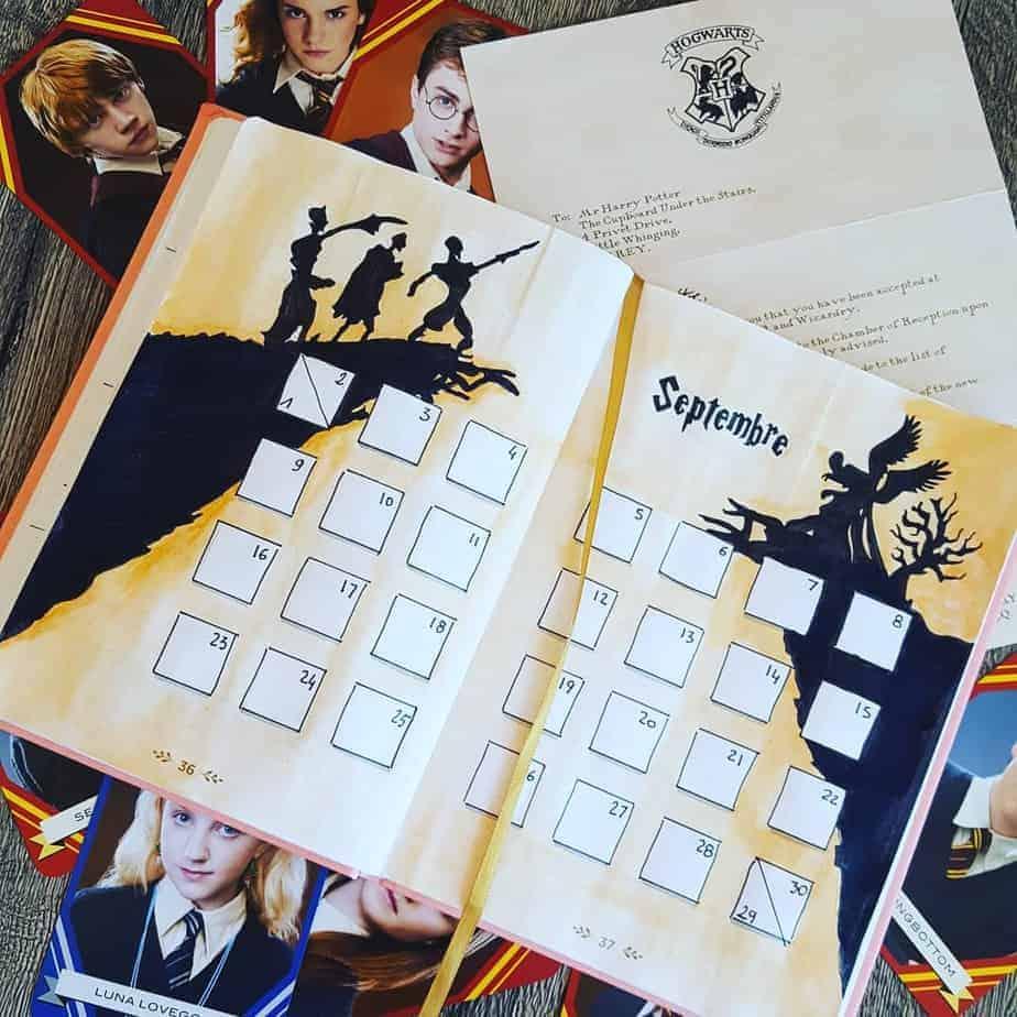 Harry Potter Bullet Journal Theme Inspirations - monthly log by @yaya_stupefix | Masha Plans