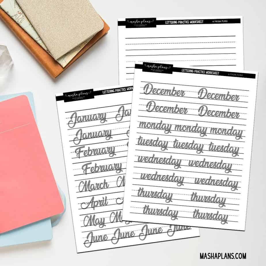 Free printable lettering worksheets | Masha Plans