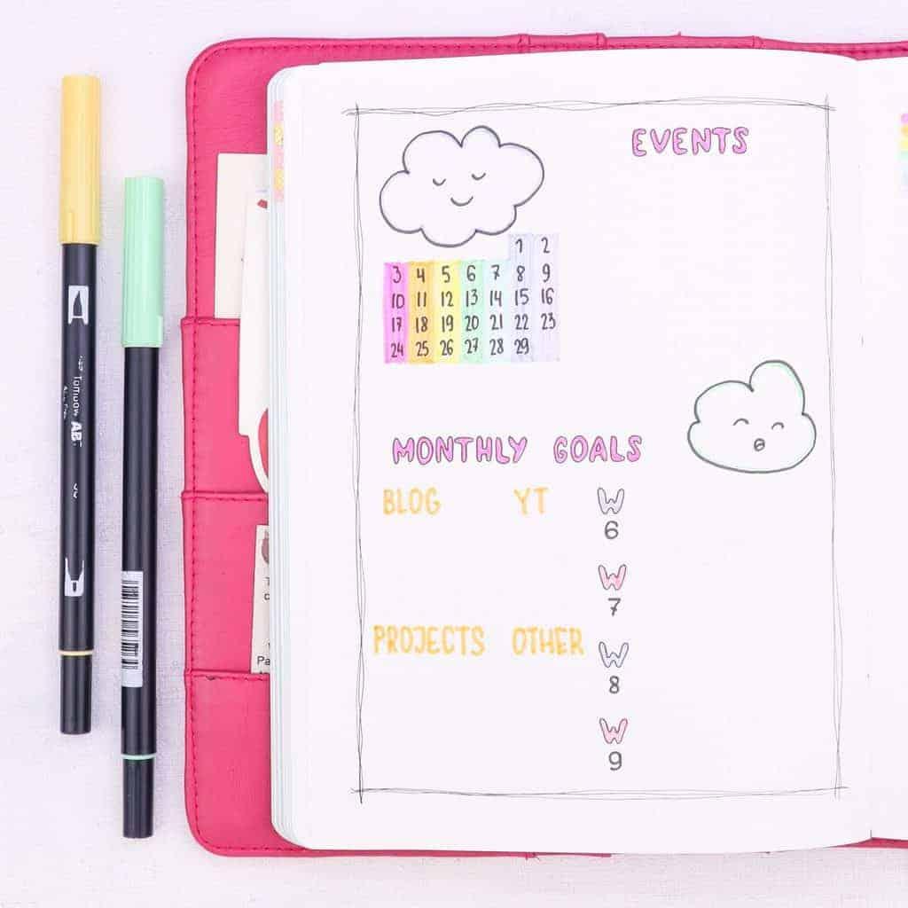 February Bullet Journal Setup - Clouds Theme: monthly log | Masha Plans