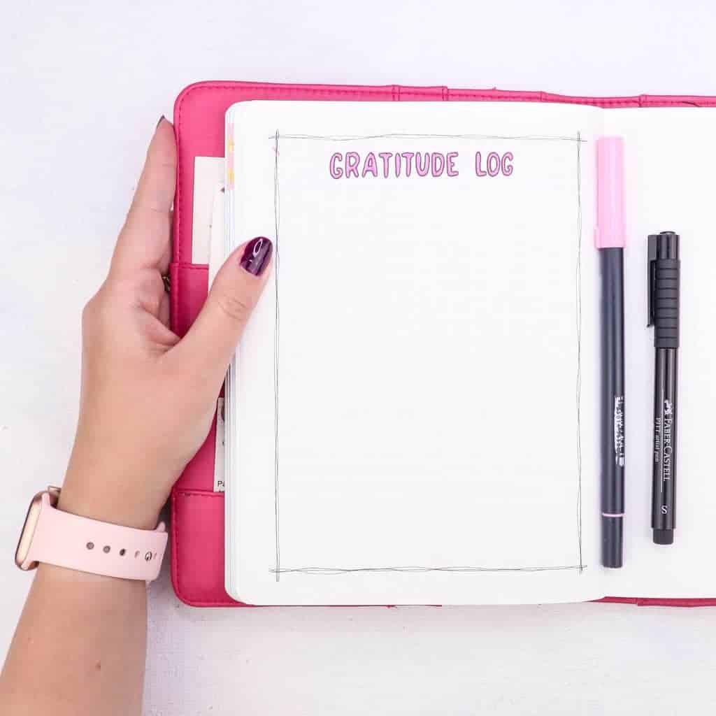 February Bullet Journal Setup - Clouds Theme: gratitude log | Masha Plans